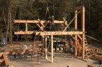 The timber frame, about 1/3 completed