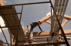 Moving about the timber frame is easy for climbers