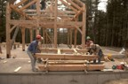 Four strong backs are required to move a rafter subsection