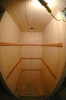 The paneling (maple) and trip (cedar) in the dressing room, all from scraps left over from our basement project