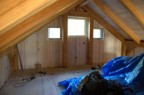 Paneling in the loft just after it was completed