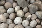 Round stones from the Boquet gathered for use in the chimney