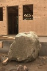 One of the boulders that will act as a support for a porch post