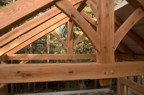 The timber frame of the roof system