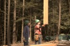 Steve uses superhuman strength to casually move a 300 pound post; Kevin looks on in awe