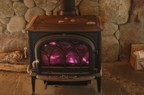 The wood stove with its first fire