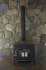 The wood stove and pipe, just after installation