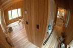 Fisheye view of the bedroom and closets