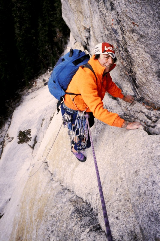 John reaching the first belay on West Crack