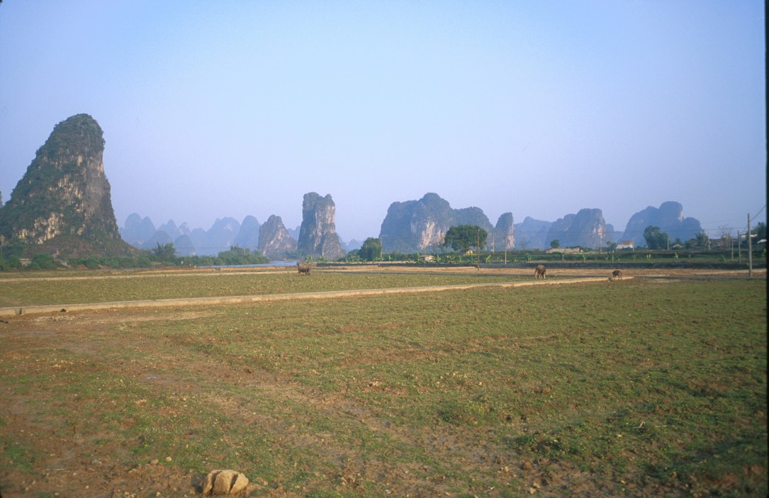 View of Yangshuo and surrounding countryside